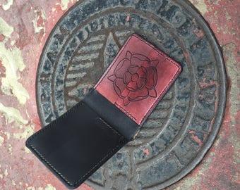Horween Chromexcel and Veg Tan Carved Rose Wallet