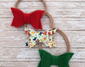Little baby headbands, Christmas headbands, Christmas hair bows, toddler headbands, baby headbands, newborn headbands, felt headbands