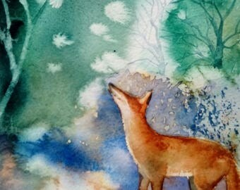 Fox & Dove original watercolour painting by Shari Hills