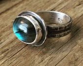 Labradorite Ring - Labradorite Jewelry - Statement Ring - Solitaire Ring - Edgy Ring - Boho - Gypsy