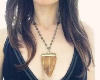 Bone dagger pendant on jasper stone rosary necklace
