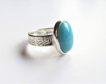 Turquoise and silver ring, sterling silver ring, December birthstone, handmade silver ring, handmade turquoise ring, celtic silver ring