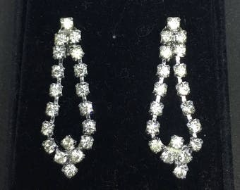 Vintage 1940/1950 Rhinestone Dangle Wedding Earrings - converted from clip-on to pierced