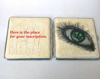 Personalized cigarette case metal with painted eye, Cigarette case metal, Metal cigarette case personalied, Cigarette case for smokers,