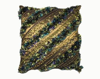Unique Beaded Fluffy Decorative Pillow Cover