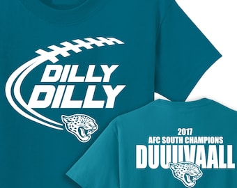 Dilly Dilly, Duuuvaaall, AFC South Champions, Jacksonville, Jaguars, Team color t-shirt, NFL, Football, Sacksonville, Playoffs