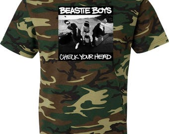 Beastie Boys Check Your Head Camouflage T Shirt Green Woodland Camo