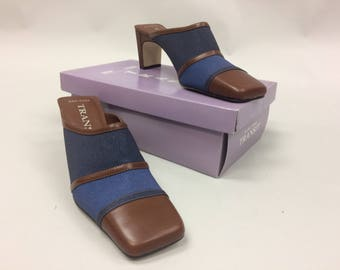 1990s Denim and Brown Leather Look Mules with Chunky Thin Heel Size 10M | New in Box | Dead stock