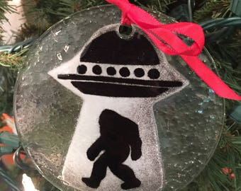 Bigfoot Sasquatch UFO Enameled Glass ornaments!