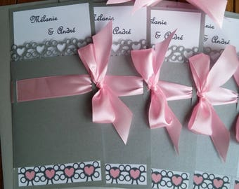Silver Pink lace wedding invitation