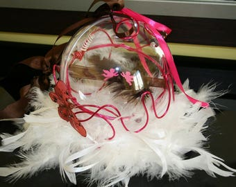 Ring bearer ball beads white Brown Fuchsia feathers