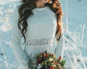 Winter wedding dress Wedding dress Boho wedding dress  Long Sleeve Wedding Dress vintage wedding dress elegant wedding gown