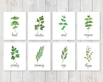 "Ultimate Set of 8 Herbs and Spices Kitchen Print Set    8""x10"" DIGITAL DOWNLOAD    Farmhouse Kitchen Decor    Printable Herb Garden Sign Set"