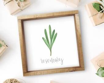 "Mix + Match Kitchen Herb Print || 8""x8"" Rosemary Kitchen Herb Wall Art || Kitchen Herb Decor || Herb Instant Download (DIGITAL PRODUCT)"