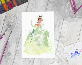 Disney Inspired Princess Tiana Watercolour A5 Print