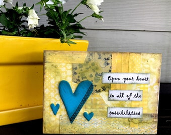 OpenYour Heart Mixed Media Canvas Home Decor Open Heart Series
