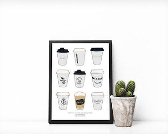 Melbourne Print   Coffee Cups of Brighton   A3