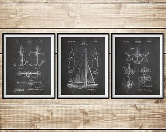 Sailboat Art, Nautical Wall Art, Patent Print Group, Patent Print Set, Yacht Art, Nautical Blueprint, Boat Captain Gift, INSTANT DOWNLOAD