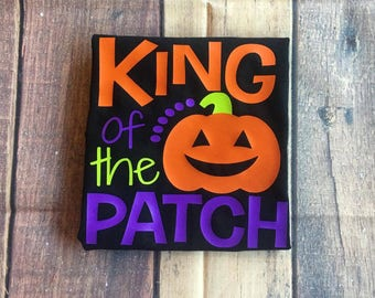 King Of The Pumpkin Patch Tee Boy's Halloween Shirt Toddler's Halloween Party Shirt Infant Halloween Outfit Kids Trick or Treating Shirt