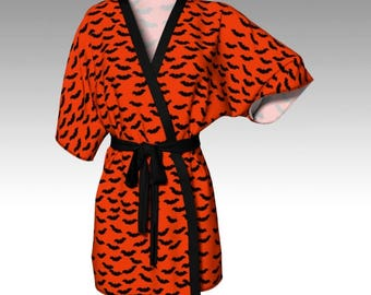 Halloween Robe, Orange Robe, Costume Robe, Bat Robe, Bat Kimono, Kimono Robe, Dressing Gown, Swim Coverup, Loungewear, Halloween Gift, Women