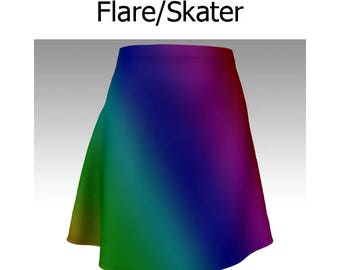Rainbow Skirt, Ombre Skirt, Rainbow Ombre, Dark Rainbow, Flare Skirt, Skater Skirt, Fitted Skirt, Bodycon Skirt, Festival Skirt, Cute Skirt