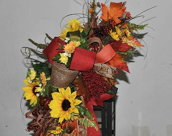 fall lantern swag, fall swag, Autumn lantern swag, pumpkins sunflowers and berries swag, fall centerpiece, thanksgiving swag, lantern topper