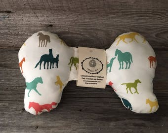 Cushion pillow elephant ears for baby horses in green cotton or minky reversible car seat