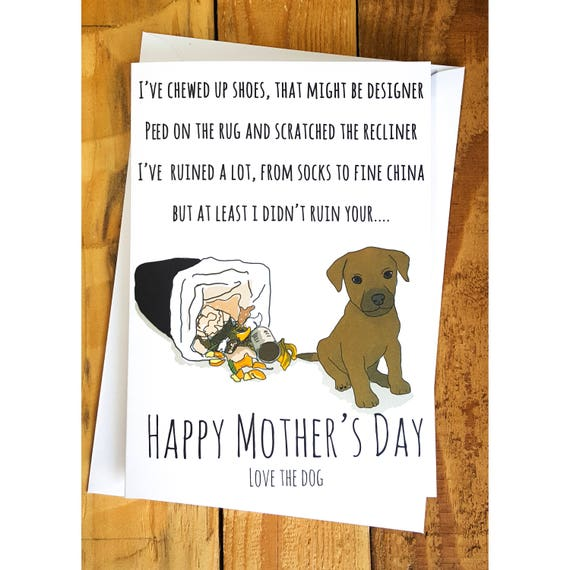 Mothers Day card from the dog rude cards funny Greetings