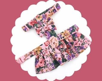 Rose Pink Floral & Bow Dog or Puppy Harness Dress