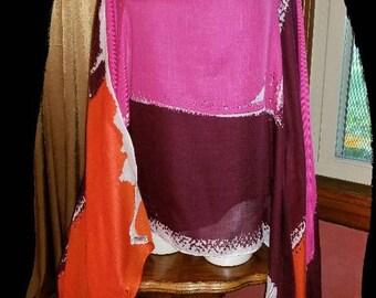 Fuschia Orange-Poncho Kimono Scarf Shawl.  4 in 1!