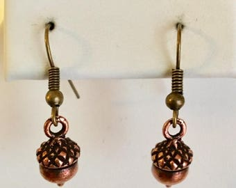 Acorn Antiqued Copper Plated Pewter Earrings