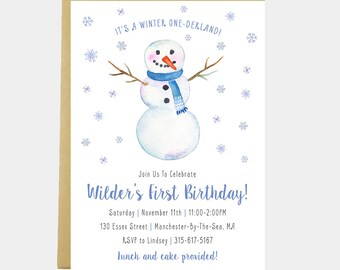 Winter Onederland Birthday, Winter Snowman Party, Snowman Invitation, Winter Birthday, Winter Invitation, Snowflakes, Printable or Printed
