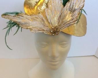 Gold leaf crown, Greek goddess costume Grecian headband, leaves headband, headpiece gold goddess toga party clip, party hair clip white