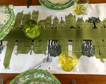 Green Table Runner-Street design Olive Green Table decoration. Fabulous designer tableware for fine dining and gorgeous tables. Gift idea