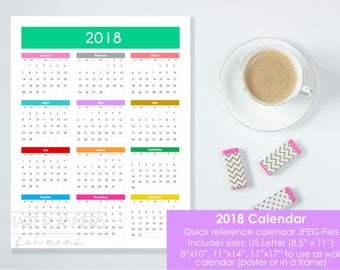 2018 calendar. 2018 wall Calendar, printable. US Letter Size, 8.5x11, 8x10, 11x14, 11x17 JPEG. Quick reference calendar. Instant download.