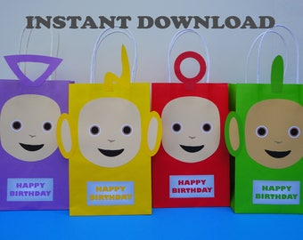 DIY Teletubbies Party Favor Bags/ Teletubbies Birthday Theme/ Teletubbies Party Theme/ Teletubbies Candy Bags/ Treat Bags/ Goodie Bags