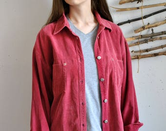 Red jeans shirt 1990s 1980s vintage womens long heritage blouse