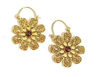 Gold hoop earrings, boho earrings, brass hoop earrings, ethnic earrings,gemstone earrings, brass jewelry, bohemian earrings