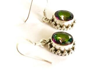 Mystic Topaz earrings, 925 Sterling silver earrings, topaz drop earrings , gemstone earrings, gift for her, womens earrings