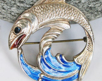 Vintage Silver Brooch Leaping Fish Salmon Enamel Hallmarked 40s Birmingham Signed