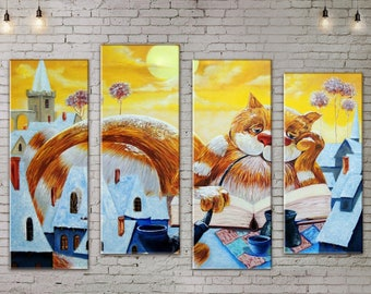 Large Wall Art, Cat Painting, Large Wall decor 4 Panel Canvas,  Art Print on Canvas, Canvas Art, Interior Art, Living Room Decor