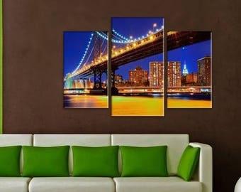 Art Print on Canvas, Large Print Wall Art , Skyline , River,Night City, Bridge, Canvas Art, Interior Art, Living Room Decor, Extra Large Art