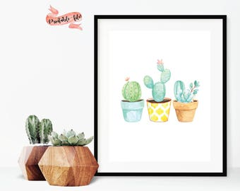Potted Succulent Digital Download for Print, Office Decor, Printable Art