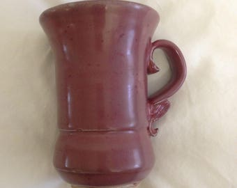 Deep Red Pale Maroon Tall Ceramics Cup
