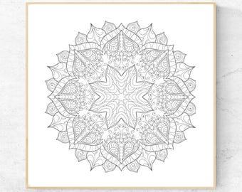 Mandala Coloring Page 8.5 x 8.5 inch
