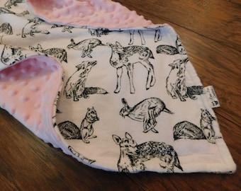 Pink Minky Woodland Creatures Baby Blanket- baby girl, nursing cover, stroller blanket, crib blanket, crib bedding, foxes, deer, bunnies