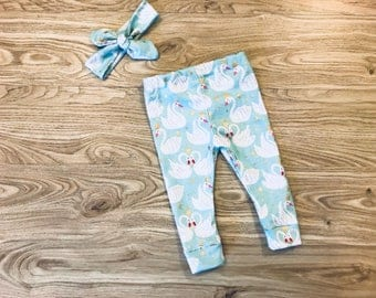 Baby Girl Swan Princess Set- leggings, knot headband, crowns, light blue, white, baby pants, mommy and me, outfit, matching set