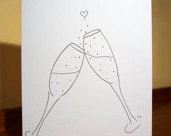 Toasting Champagne Glasses Greeting Cards - Weddings, Engagements, Any Celebration