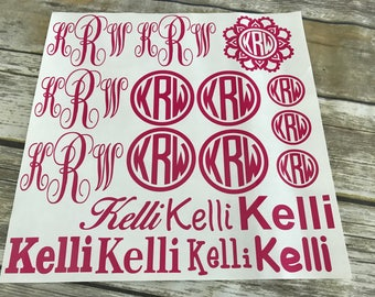 Personalized Monogram Decal Set, Back To School Decals, Vinyl Decal Set, Custom Decals, Monograms