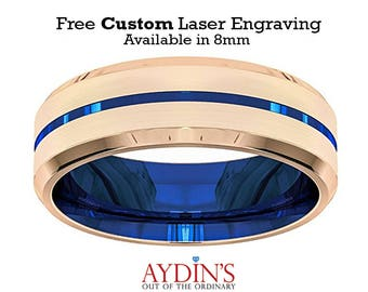 Tungsten Ring   Wedding Band Men   Rose Gold and Blue   Blue Grooved   Beveled Edge   Tungsten Carbide Ring   8mm